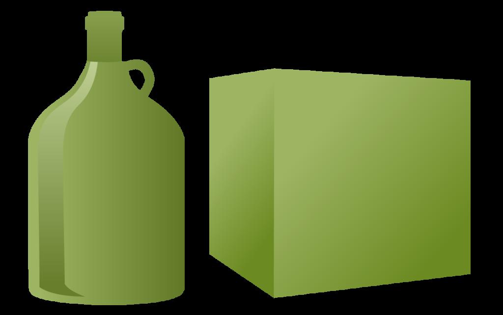 One 3 liter bottle or box