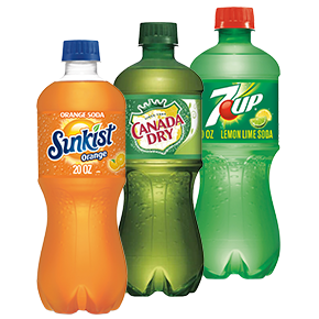 Sunkist, Canda Dry, and 7UP bottles by Country Fair