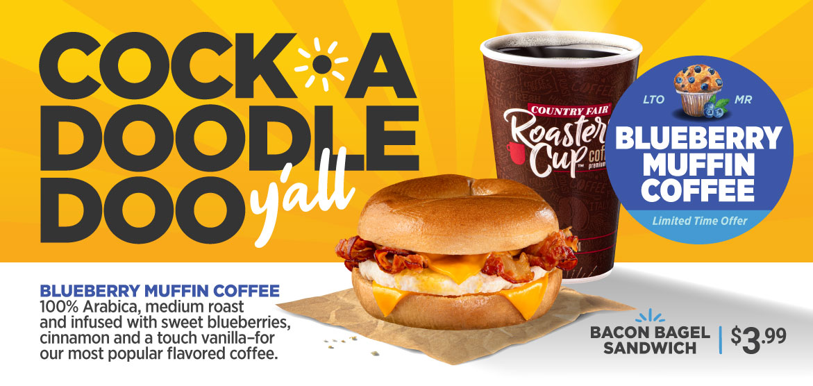 Fall Breakfast and Blueberry Muffin Coffee Ad by Country Fair